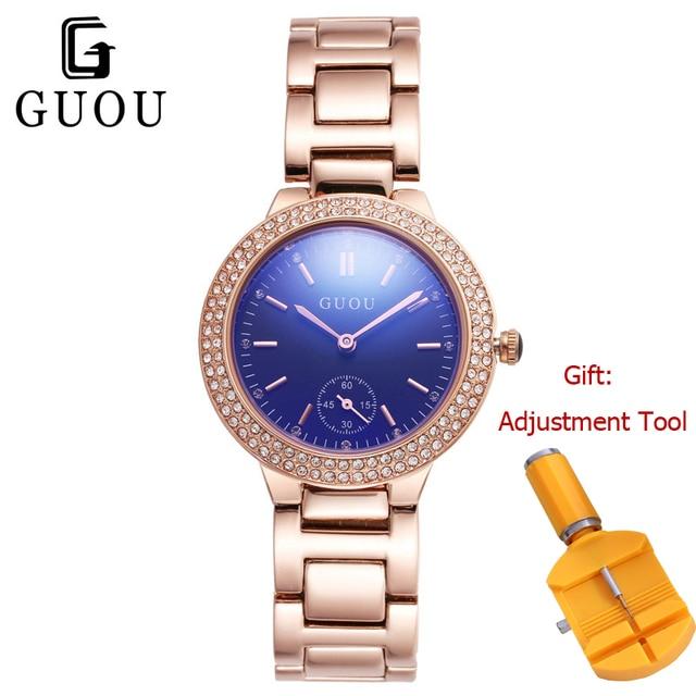 3f0acfe54 GUOU Rose Gold Women Bracelet Watch Simple Blue Dial Ladies Dress Wrist  Watches Slim Strap Quartz Watches Clock Relogio Feminino