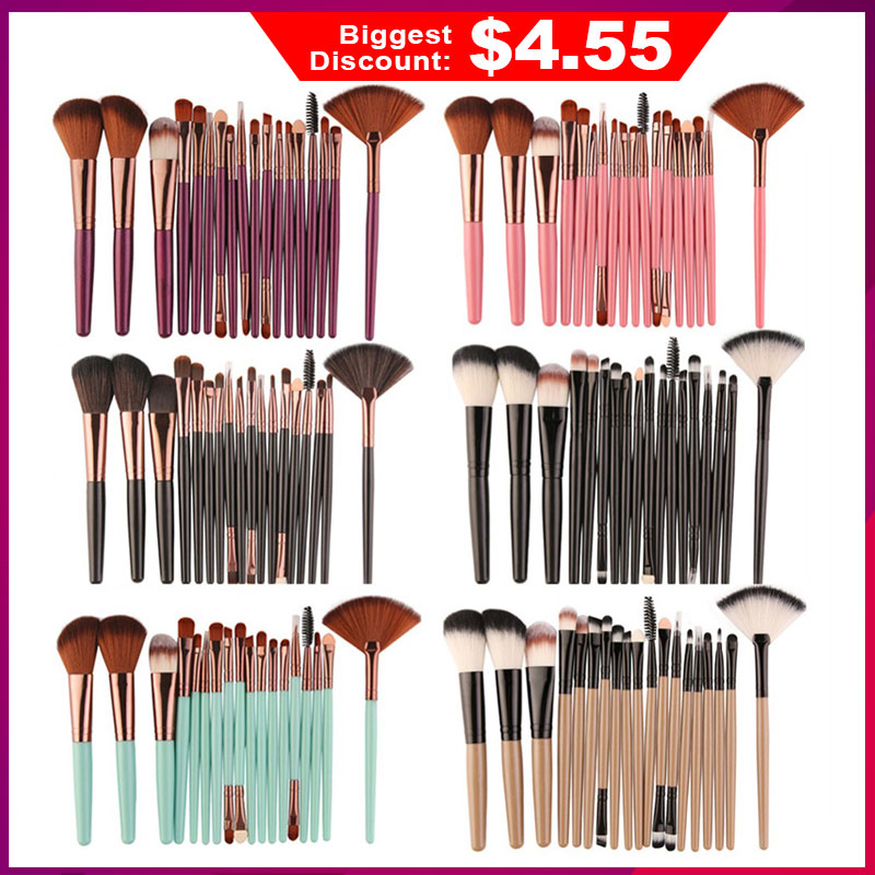 Professional 18 Pcs Beauty Makeup Brushes Set Cosmetic Powder Eye Shadow Foundation Blush Eye Shadow Lip Blending Make Up Brush(China)