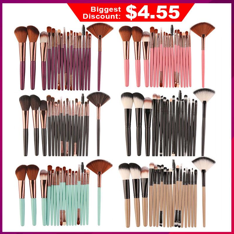 Professional 18 Pcs Beauty Makeup Brushes Set Cosmetic Powder Eye Shadow Foundation Blush Eye Shadow Lip Blending Make Up Brush