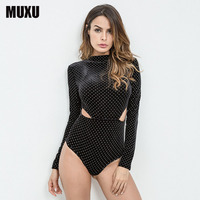 MUXU Summer Black Jumpsuit Women Feminino Bodysuit Sexy Rompers Bodys Jumpsuit Short Ladies Jumpsuits Long Sleeve