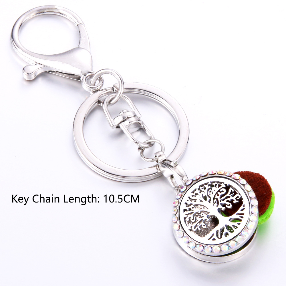 AB Tree pattern Full Rhinestone Perfume KeyChain Stainless Steel Essential Oil Diffuser Perfume Aromatherapy Locket Key Chain in Key Chains from Jewelry Accessories