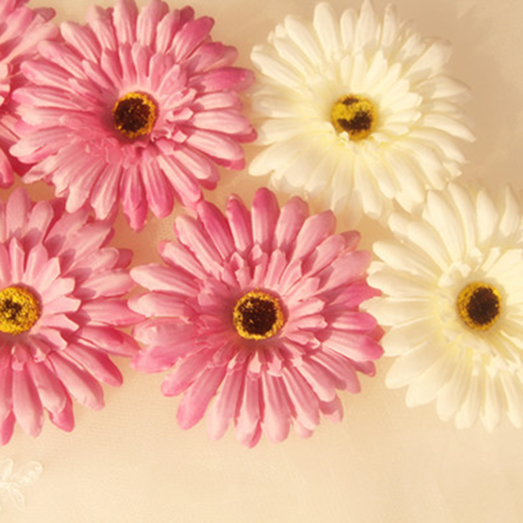 10pcs Artificial Barberton Daisy Flower Heads For Shoes Straw Hat