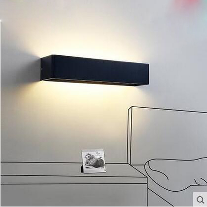 Creative bedside wall lamp modern minimalist rectangular corridor balcony living room bedroom background lighting fixture wall light 12w led wall lamp bedroom bedside living room hallway stairwell balcony aisle balcony lighting ac85 265v hz64