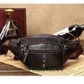 Homens de Couro Genuíno de Viagem Ocasional Andar de Moto Mensageiro Ombro Sling Peito Hip Bum Belt Bloco de Fanny Saco Da Cintura