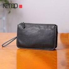 AETOO Handbag mens leather casual business cowhide mobile phone bag large capacity hand grab