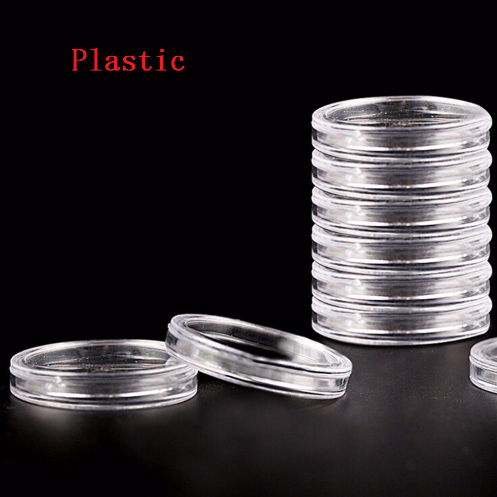 1 PC 38.6mm Round Acrylic Coin Capsule Clear Holder Storage For Silver Coin 1 oz