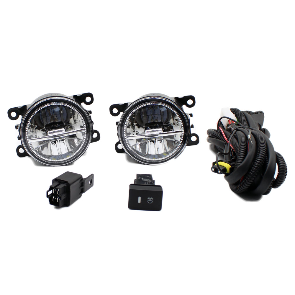For DACIA LOGAN Saloon LS_ 2004 2012 H11 Wiring Harness Sockets Wire Connector Switch + 2 Fog Lights DRL Front Bumper LED Lamp