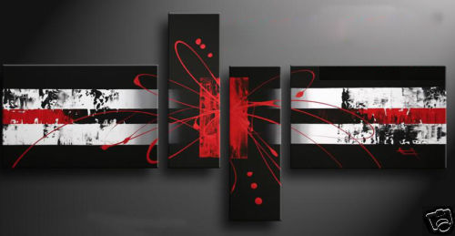 Enmarcado 4 panel grande Rojo Negro Blanco abstractas lienzos ...