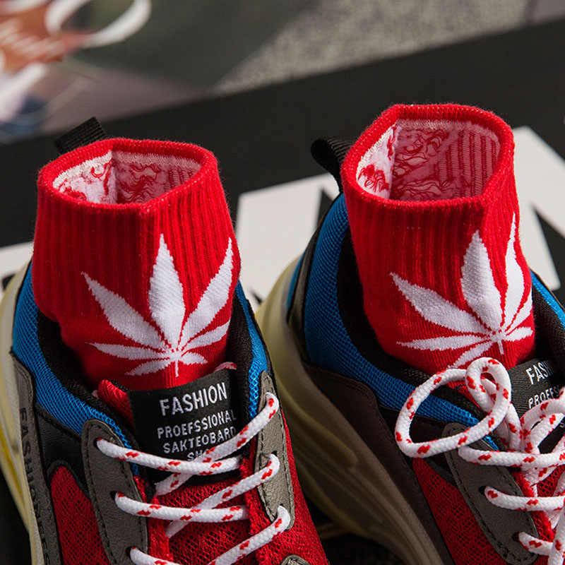 Горячая Мода Уличный Скейтборд хип хоп Женщины ang мужчины клен носки с листьями хлопок Harajuku летние носки из конопляного волокна для подростков