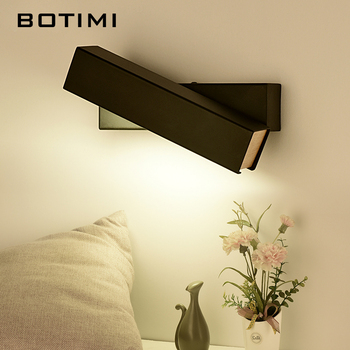 BOTIMI LED Wall Lamp For Bedroom Rectangle Reading Wall Sconce Applique murale luminaire Modern Mirror Light Bedside Lighting