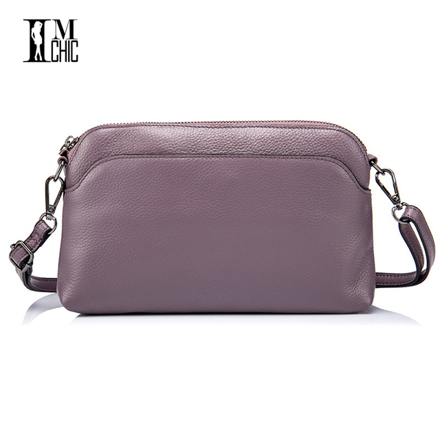 eb9e6945a4 2017 Soft Genuine Leather Women Messenger Bags Ladies Small Shoulder  Handbags Woman Crossbody Black Purple Girl Gift Solid Color