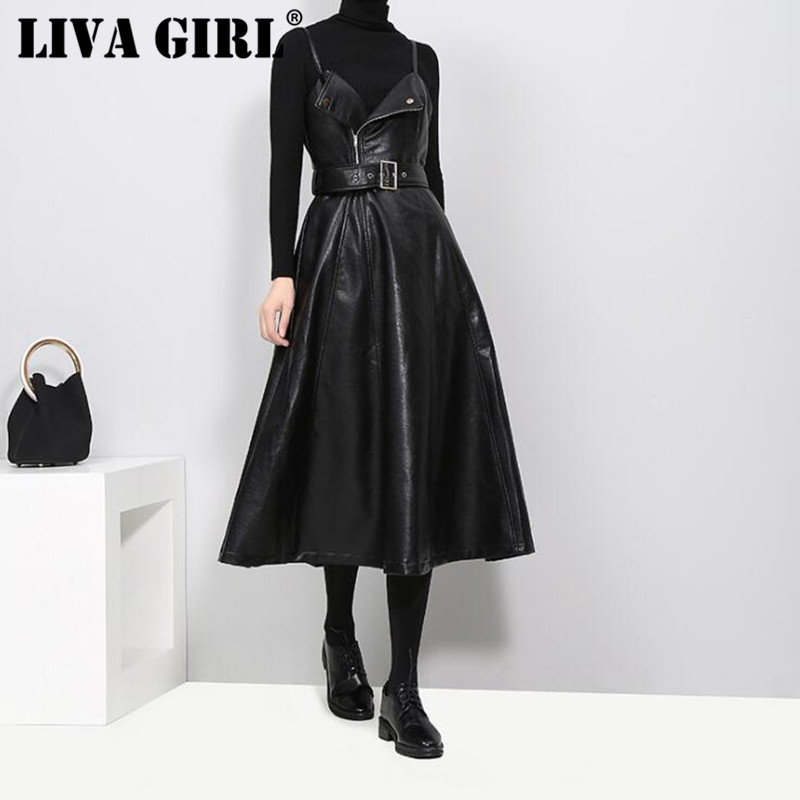 LIVA GIRL 2018 New autumn Solid Color Strapless Black PU Leather High Waist Belt Zipper Loose Dress For Women Fashion Tide