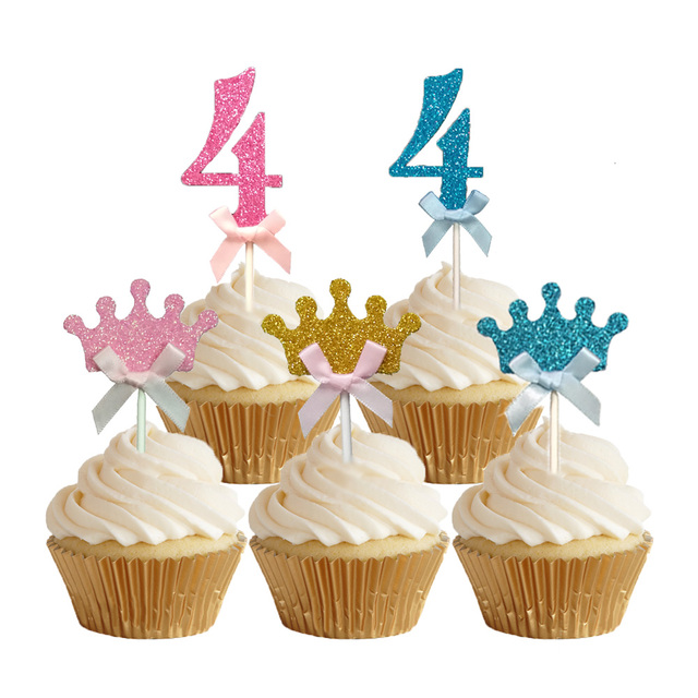 24pcs Glitter Number 4 Cupcake Toppers Baby Four Years Old Birthday Cake Topper Girls Boys The Fourth Decoration
