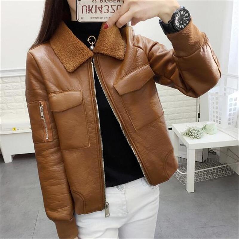 Femmes Vintage Cuir En Femme Vestes Hiver Grands Veste Pu Épais Manteau Zipper 151 brown Faux Agneaux Black Laine Chantiers 2018 txIfrIEw
