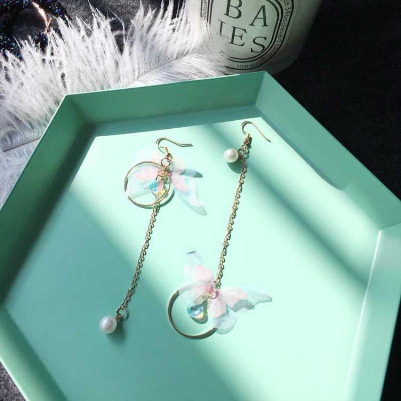 2019 תכשיטים קוריאנים רטרו אסימטרית פרפר עגילי ארוך כנפי מעגל עגילי תכשיטים עגילים לנשים Oorbellen