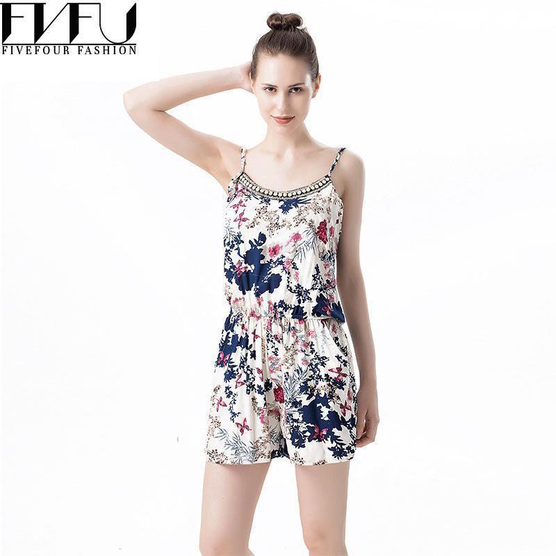 Fashion 2018 Rompers Womens Jumpsuit Retro Beaded Floral Romper Jumpsuit Loose Casual Strap Short Summer Jumpsuits Plus Size