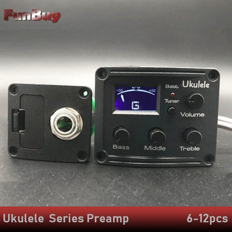 6 12Set Ukulele Piezo Pickup Uke 2 3 Band Preamp Hawaii Mini Guitarra EQ Equalizer Tuner
