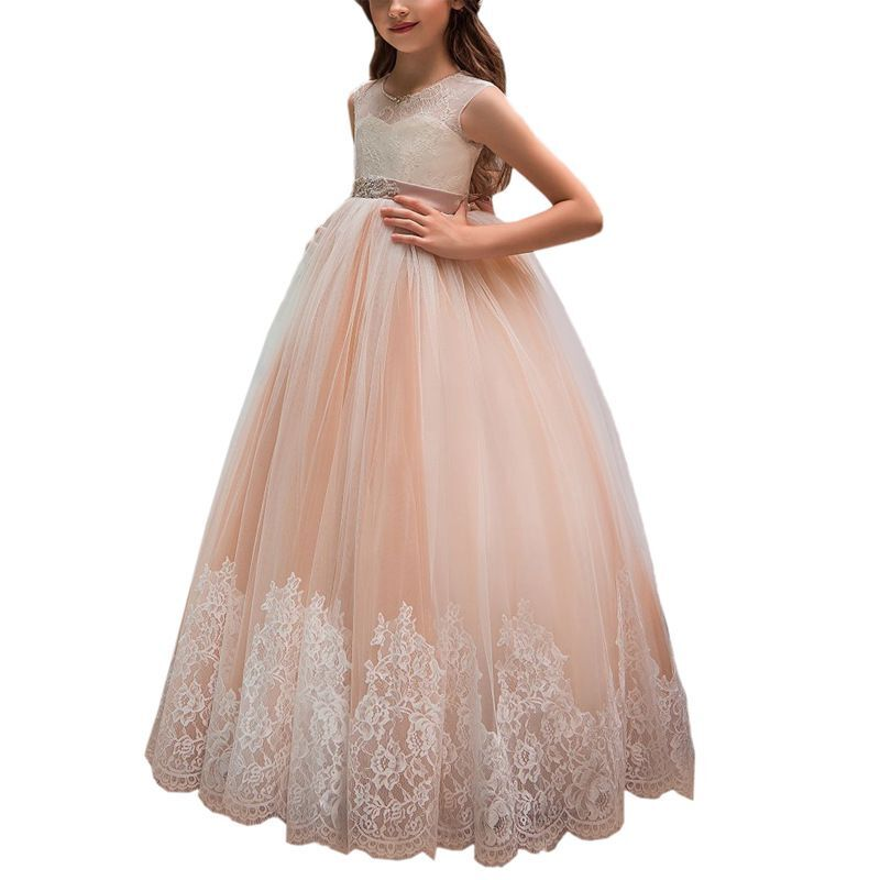 Angel Novias Long Pink Princess Birthday   Flower     Girl     Dresses   2019 for Weddings Tulle Lace Appliques Floor Length Kids Prom   Dress