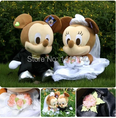 20cm tall Mickey bride and groom wedding cake topper wedding gifts favors for wedding car decorations pink white free shipping