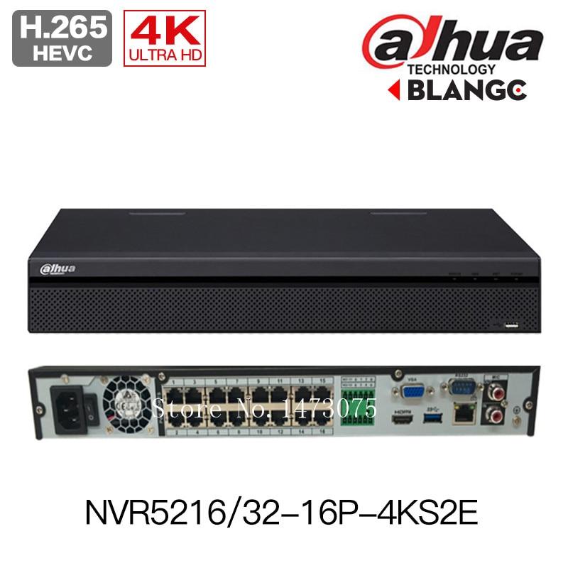 Dahua 4K H.265 NVR NVR5216-16P-4KS2E 16CH with 16 poe NVR5232-16p-4KS2E 32ch with 16 PoE 1-8 PoE Ports Support 800m ePoE & EoC dahua 32ch nvr 16 poe 2u case 8 sata 1080p 200mbps gigabit rj45 android ios