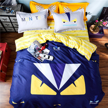 2016 designer korean style cartoon cotton bedding set 4pcs queen size duvet cover bed sheet pillow case bed linen set for kids
