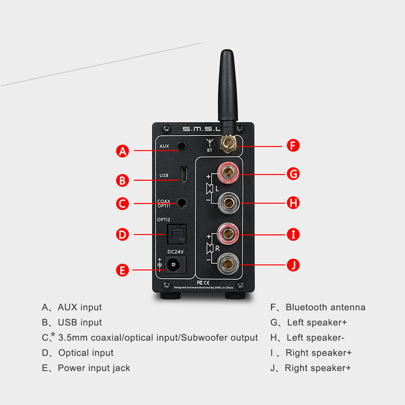 SMSL AD18 80W * 2 CSR A64215 DSP HIFI Bluetooth Saf Rəqəmsal Səs - Evdə audio və video - Fotoqrafiya 2