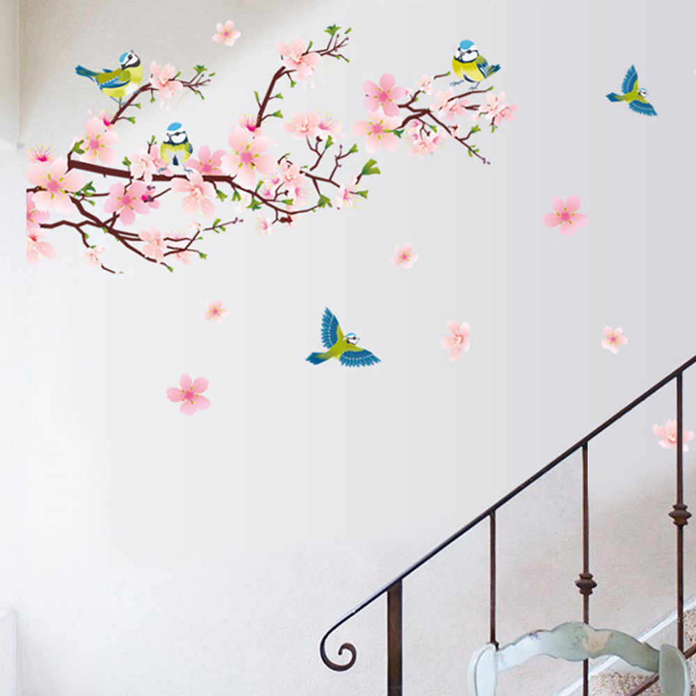 Aliexpress Decoration Maison Detail Feedback Questions About Peach Blossom Birds 3d Wall
