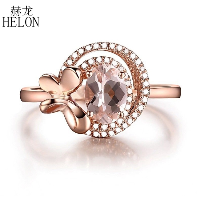 HELON Solid 10kt Rose Gold Surprise 7x5mm Oval 0.8CT Flawless Morganite Natural Diamonds Engagement Wedding Ring unique Jewelry