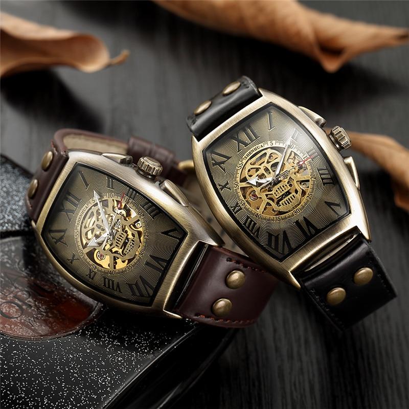 HTB1wphia2b2gK0jSZK9q6yEgFXa2 Men Watch Skeleton Automatic Mechanical Male Clock Top Brand Luxury Retro Bronze Sport Military Wristwatch relogio Masculino