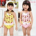 Ems DHL бесплатная доставка 5 шт./лот малыш стильные девочки Ruflle вишневый кружева купальник бикини Bathsuit пляжная 3 - 7 т новый