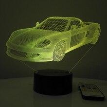 Спортивный автомобиль 3D эффект ночник светодиодный светильник украшения дома освещение сенсорный переключатель дистанционного USB ясли лампа дыхание светодиодный свет