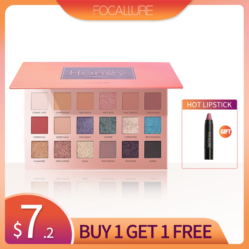 Focallure Glitter Eyeshadow 18 Colors Pigment Eye Shadow Palette Waterproof Easy to Wear Shimmer Make up