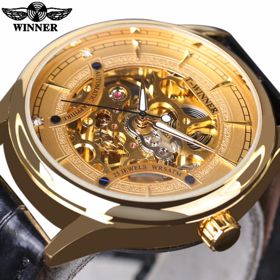 2016 Luxury Brand Winner Hand Wind Mechanical Watches Men Gold Skeleton Watch Fashion Leather Gold Wristwatch Montre Homme winner arrival glass men skeleton watches elegant simple pierced charm mechanical hand wind business and fashion style