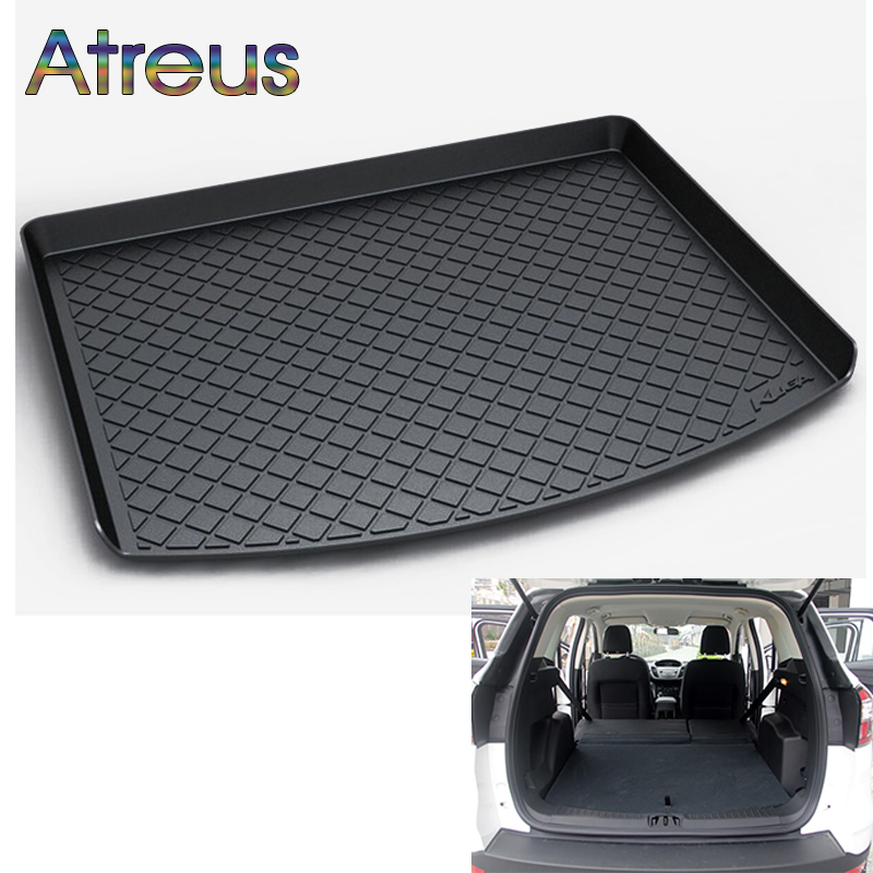 Atreus Car Rear Trunk Floor Mat Durable Carpet For Ford Kuga 2 2012-2017 2018 Boot Liner Tray Waterproof Anti-slip mat trunk mat for ford mondeo 2008 2014 durable waterproof luggage mats tray for dogs