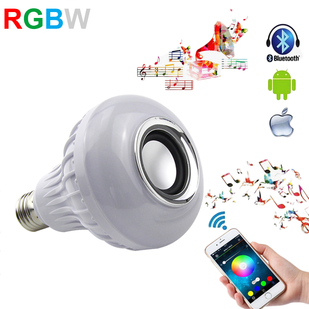 LED Bulb E27 12W 110V 220V Dimmable Smart Music Playing RGBW Wireless Bluetooth Speaker LED Bulb Lamp With 24Keys Remote Control