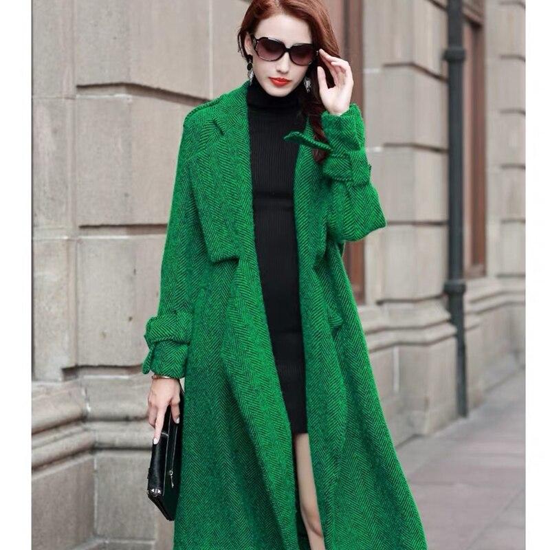 Red Long Veste Green Épais Femme Manteaux 2018 Manteau gray En Mélanges Coréenne Laine rose Hiver Vêtements UpLVqzGSM