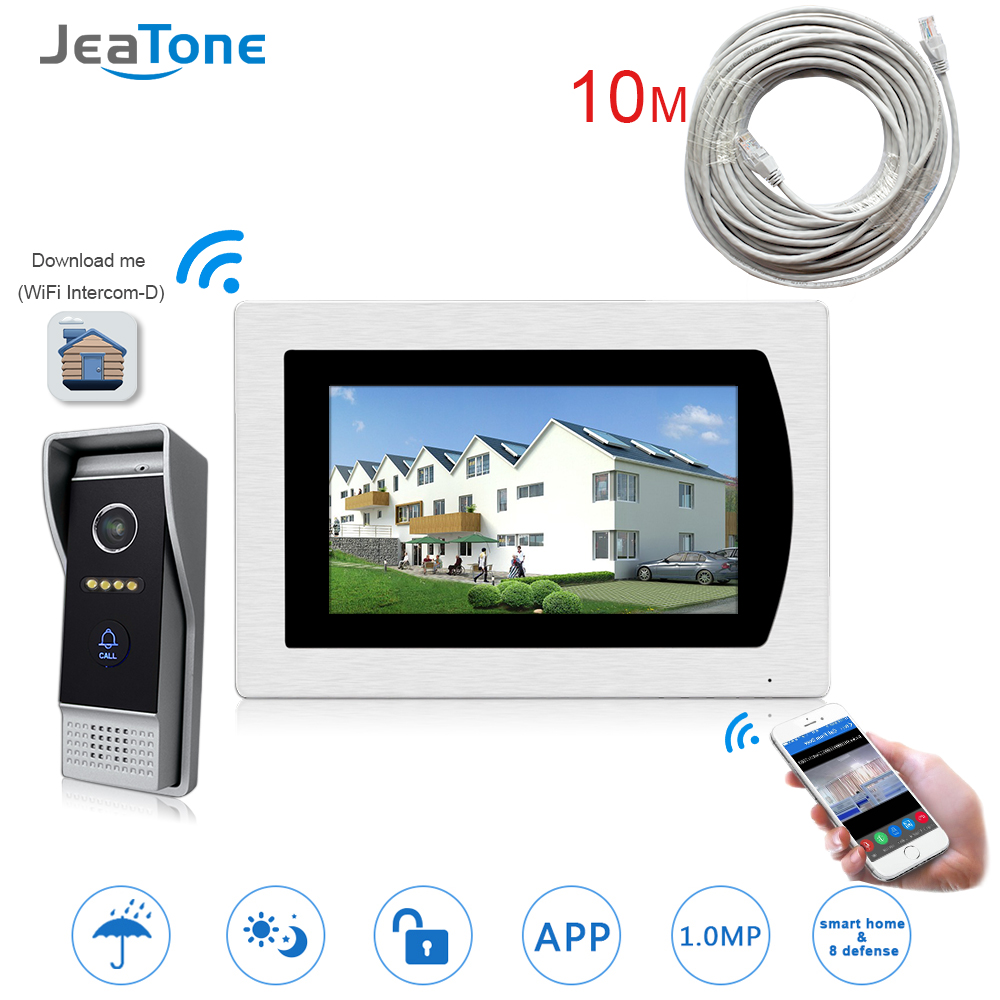 WIFI IP Video Door Phone Intercom Video Doorbell 7'' Touch Screen Villa Access Control System Motion Detection Zone Alarm +Wire