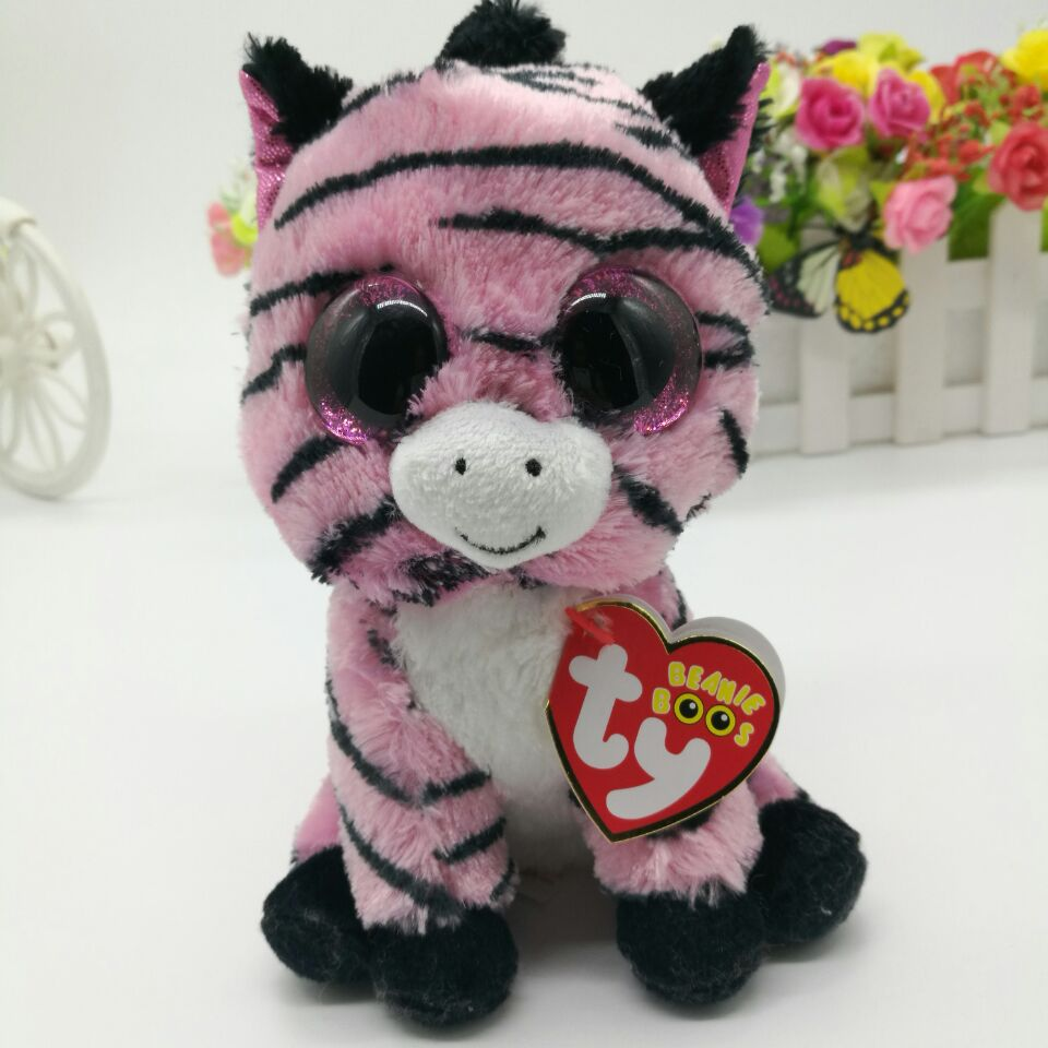 Zoey Pink Zebra Ty Beanie Boos Collection 25cm 10 Big Eye Plush