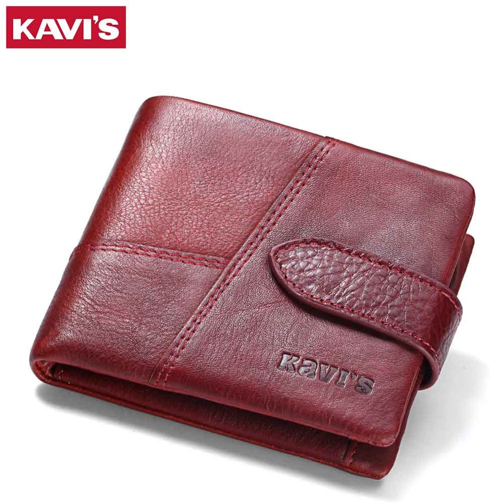 KAVIS Luxury Brand Genuine Leather Women Wallet Female Lady Small Walet Portomonee For Girls Mini Pocket Perse Holder Coin Purse
