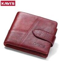 KAVIS Luxury Brand Genuine Leather Women Wallet Coin Purse Female Small Walet Portomonee Lady Mini Magic