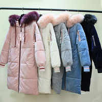 Women Winter 2019 New arrival Velour fabric long style thick warm parkas wiht fur hooded large pocket and stripped sleeve hem