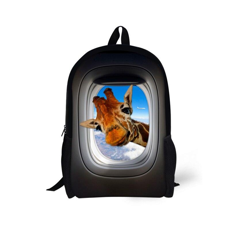 Милая детская школьная сумка для подростка Обувь для девочек Жираф Crazy Horse печати дети ранцы 3D животных Книга сумка Для женщин Повседневное ...
