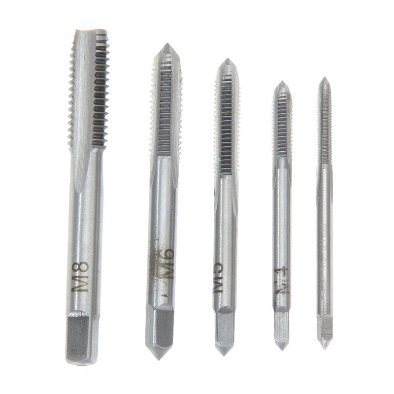 5pcs Hss Machine Screw Thread Metric Plug Tap Screw Taps 3mm 4mm 5mm 6mm 8mm M3-M8 Set Kit Screw Thread Tap Drill M3 M4 M5 M6 M8