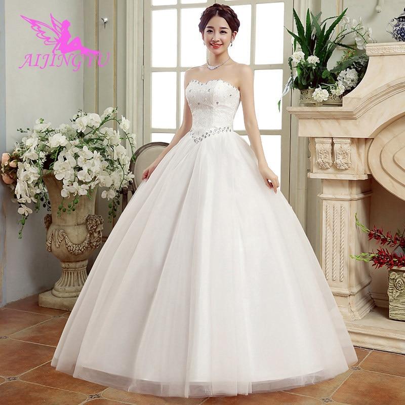 AIJINGYU 2018 Princess Free Shipping New Hot Selling Cheap Ball Gown Lace Up Back Formal Bride Dresses Wedding Dress FU296