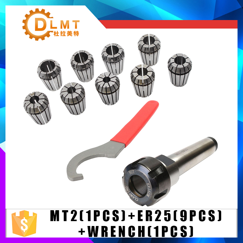 ER25 Spring Clamps 9PCS MT2 ER25 M12 1PCS ER25 Wrench 1PCS Collet Chuck Morse Holder Cone For CNC Milling Lathe tool 1pcs adapter morse cone precision mt2 for morse taper 0 000197 long spindle 2 cnc milling tool