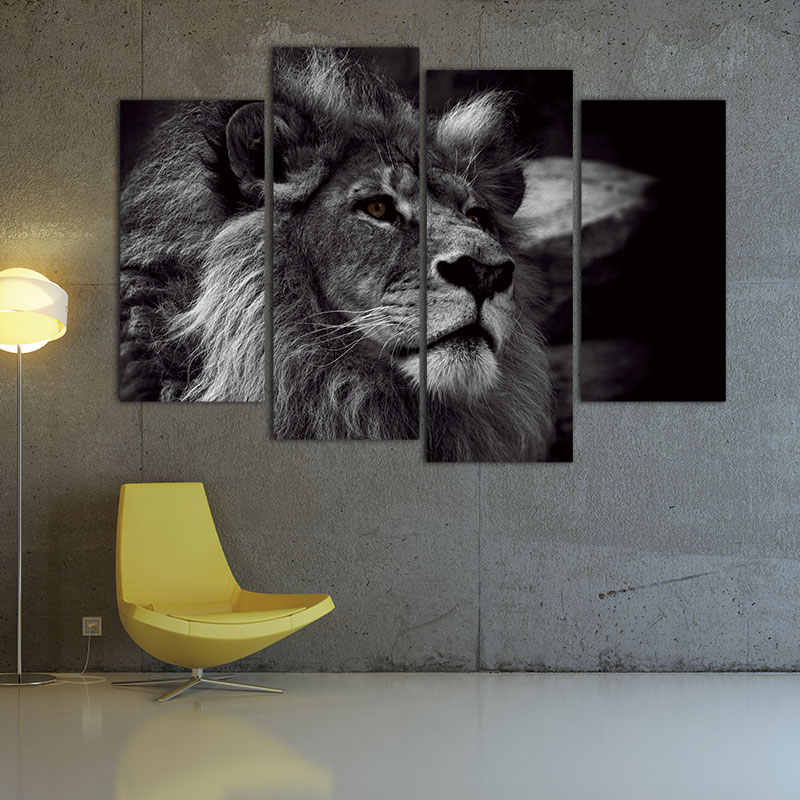4 Panels Modern Animal Picture Lion Head Portrait Wall Art Canvas Painting Black And White Wall Pictures Print On Canvas
