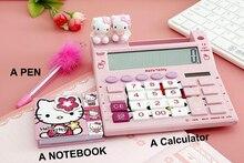 2016 Hello Kitty New Cute Calculator Cartoon Calculadoras Dual Solar Power Desktop Calculating with ballpointpen and notebook