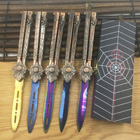 3 Colors Cs Go Practice Knife Butterfly Fade Rainbow Trainer Folding Knife Butterfly Knife Balisong Knife