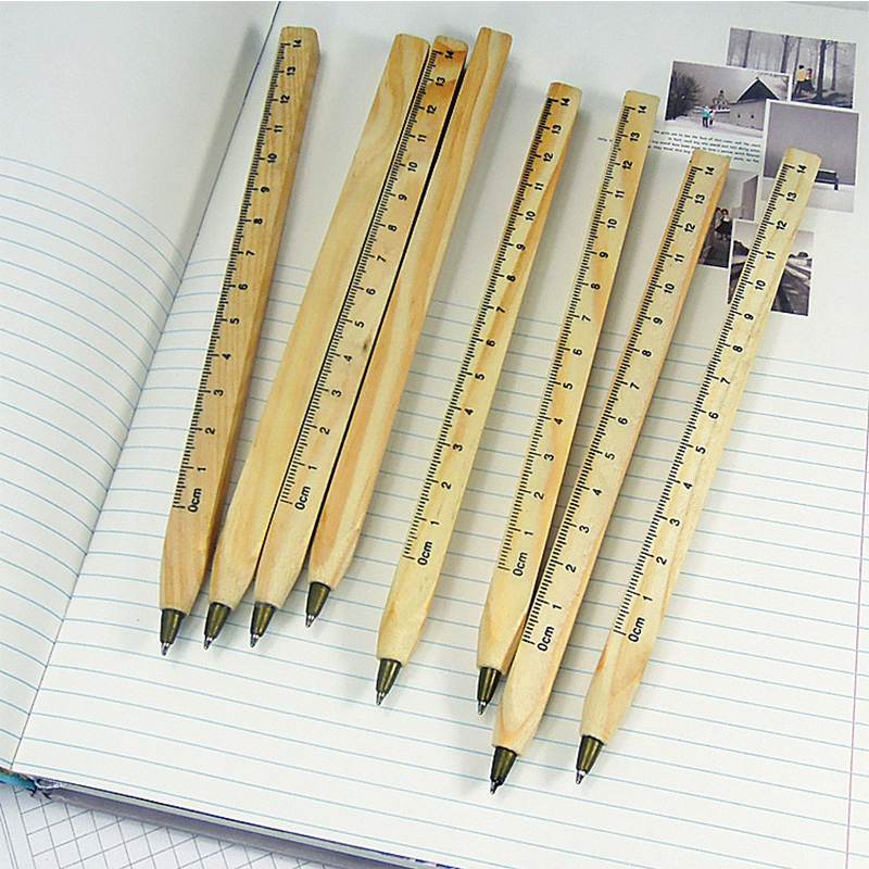 1pcs/lot New handmade wooden Environmental Ruler design Manual DIY Multifunction ballpoint pen ballpen