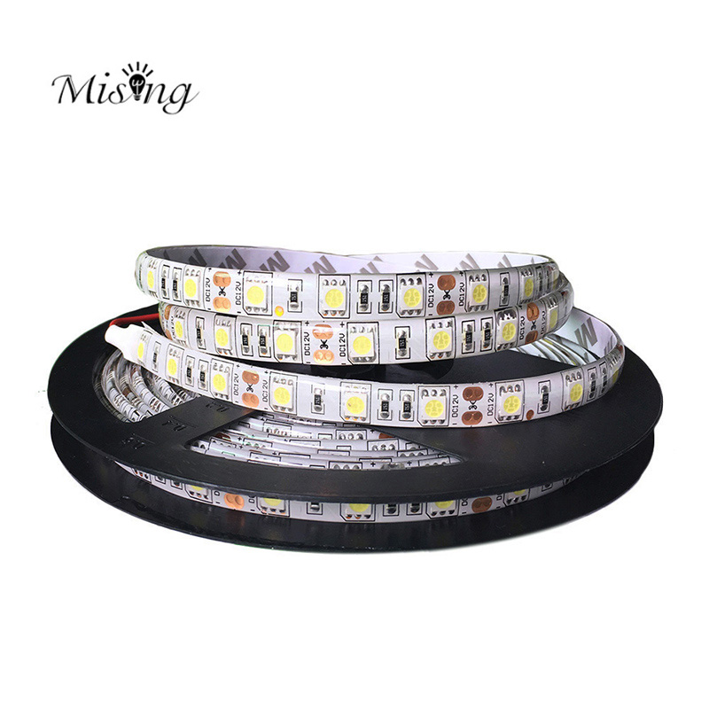 Mising 5M 300leds 5050SMD LED Strip DC 12V 30W 60leds/m High Brightness White/Warm White Non-Waterproof LED Flexible Diode Tape